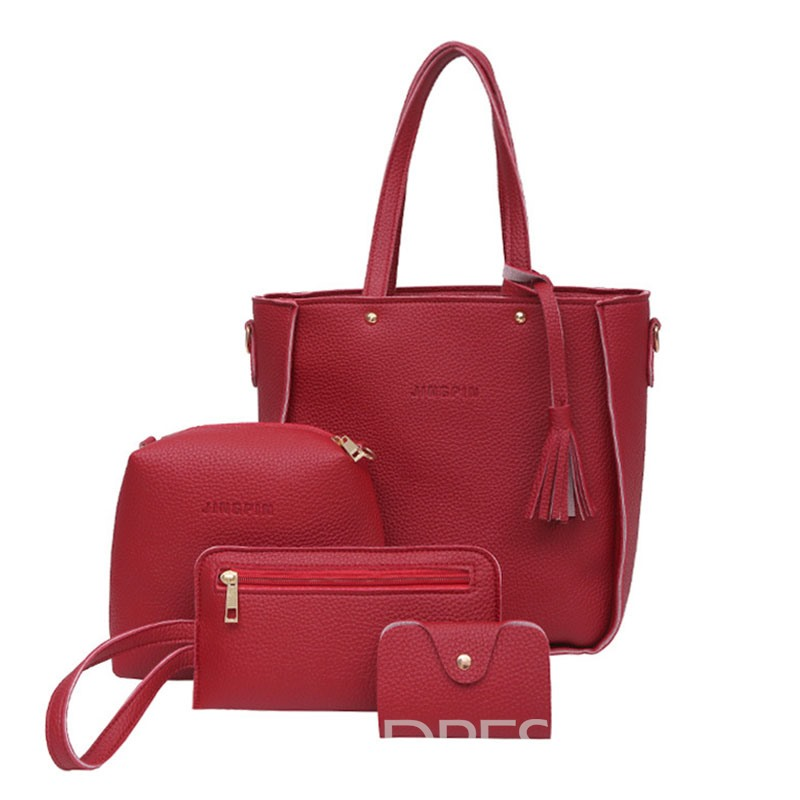 Ericdress Concise Lichee Grain Solid Color Handbag