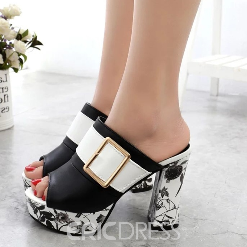 Ericdress Floral Slip-On Platform Chunky Mules Shoes