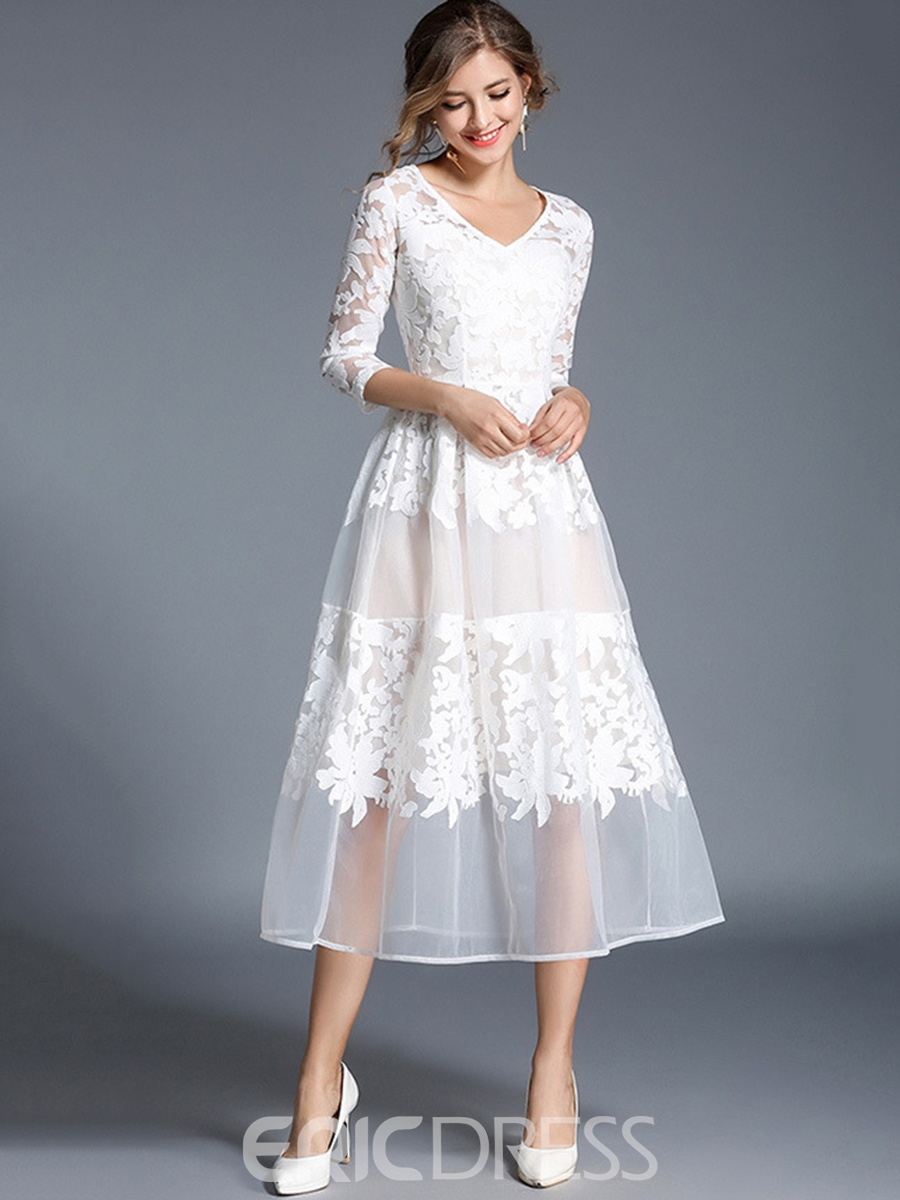 Ericdress Embroidery Hollow V-Neck A Line Dress