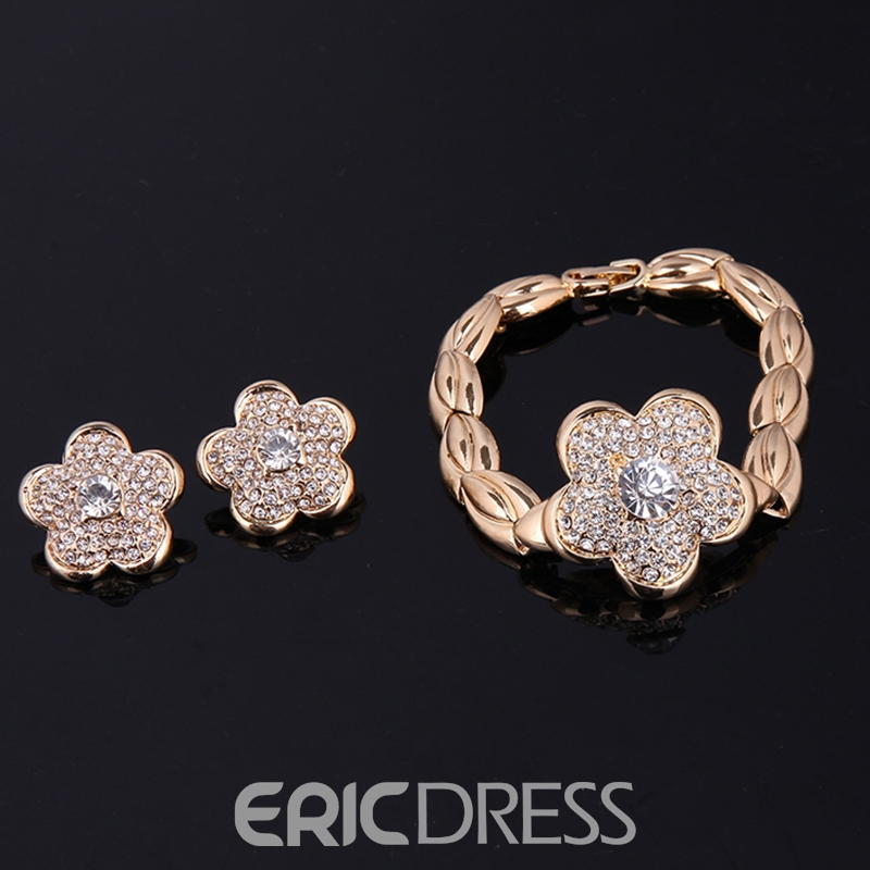 Ericdress Diamante Flower Pendant Women's Jewelry Set