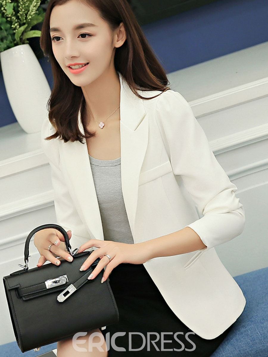 Ericdress Slim Notched Lapel One Button Blazer