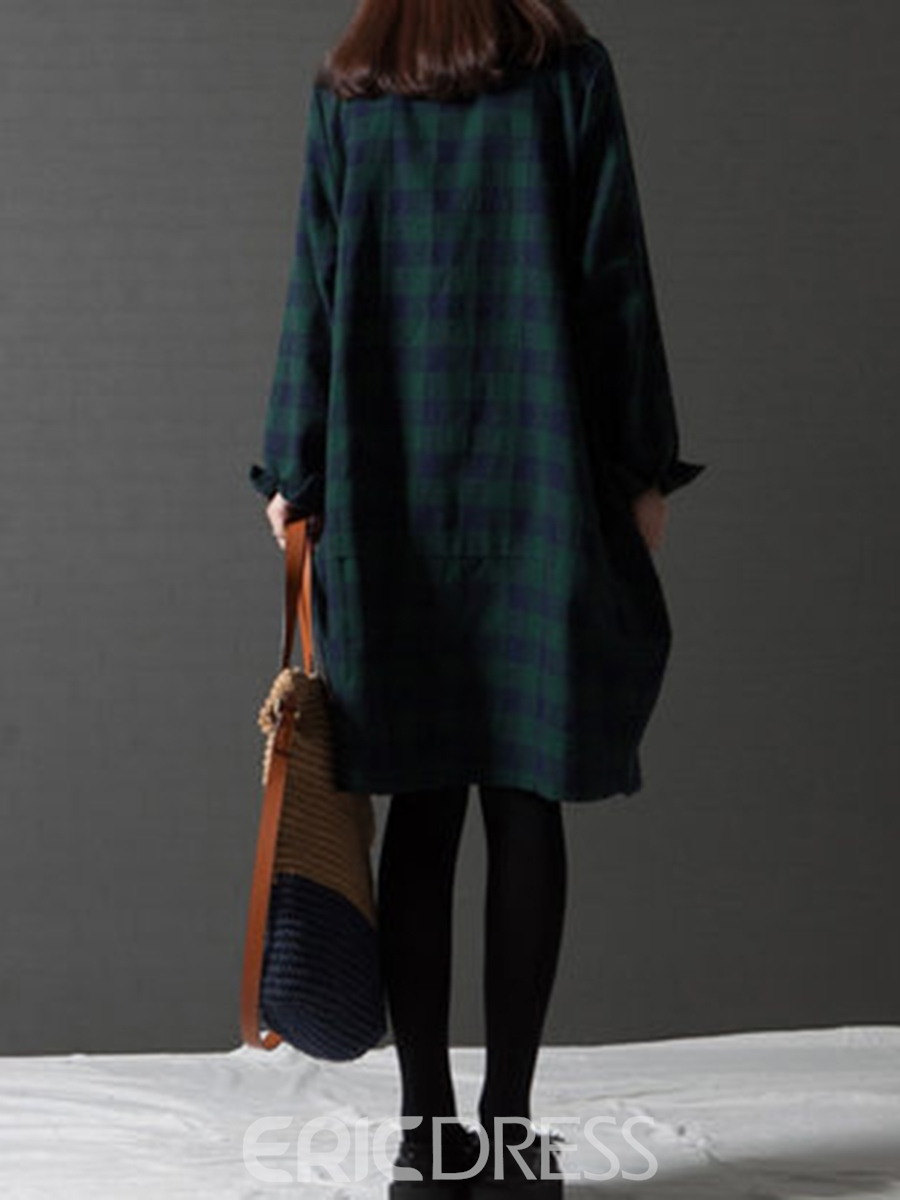 Ericdress Polo Neck Plaid Pocket Single-Breasted Casual Dress