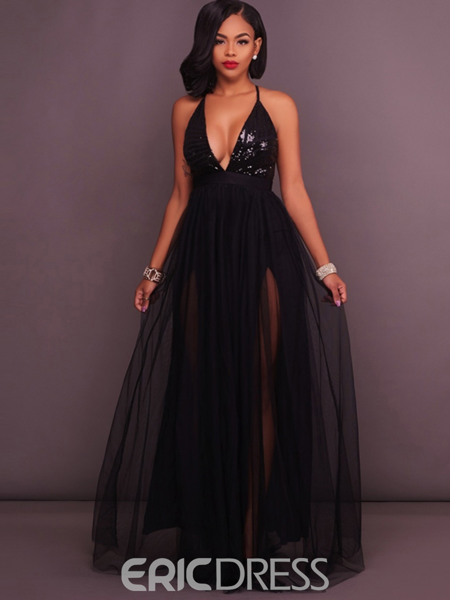 d692776621 Ericdress Backless Sequin Expansion Maxi Dress 12964112 - Ericdress.com