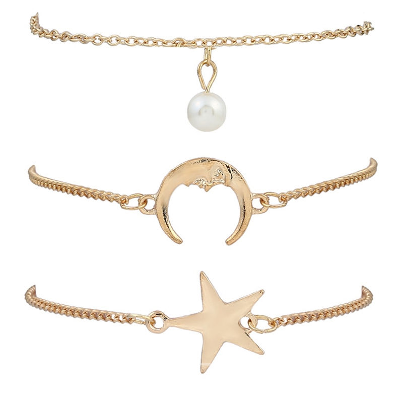 Ericdress Moon&Star Pendant Multilayer Fashion Bracelet