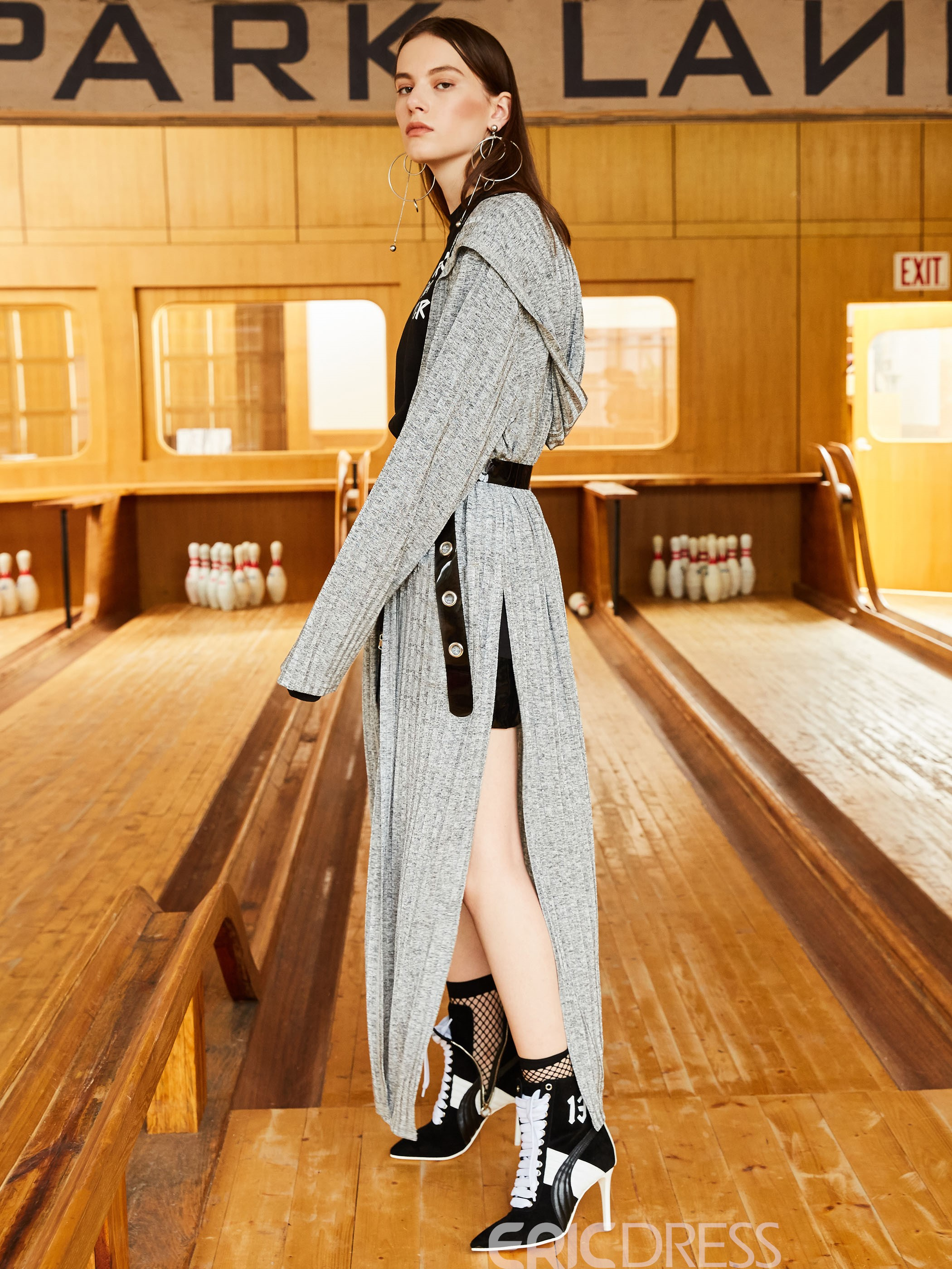Ericdress Plain Long Thin Wrapped Trench Coat