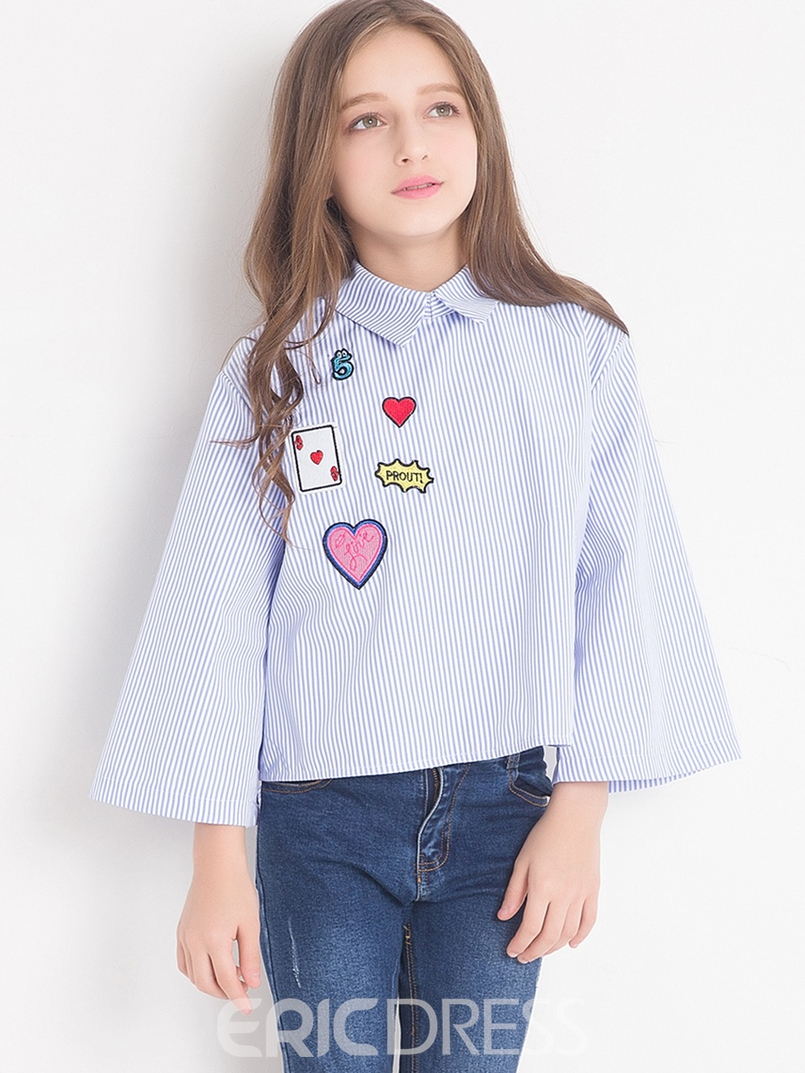 Ericdress Fashion Loose Sleeves Back-Bowknot Heart And Letter Printed Girls Shirt