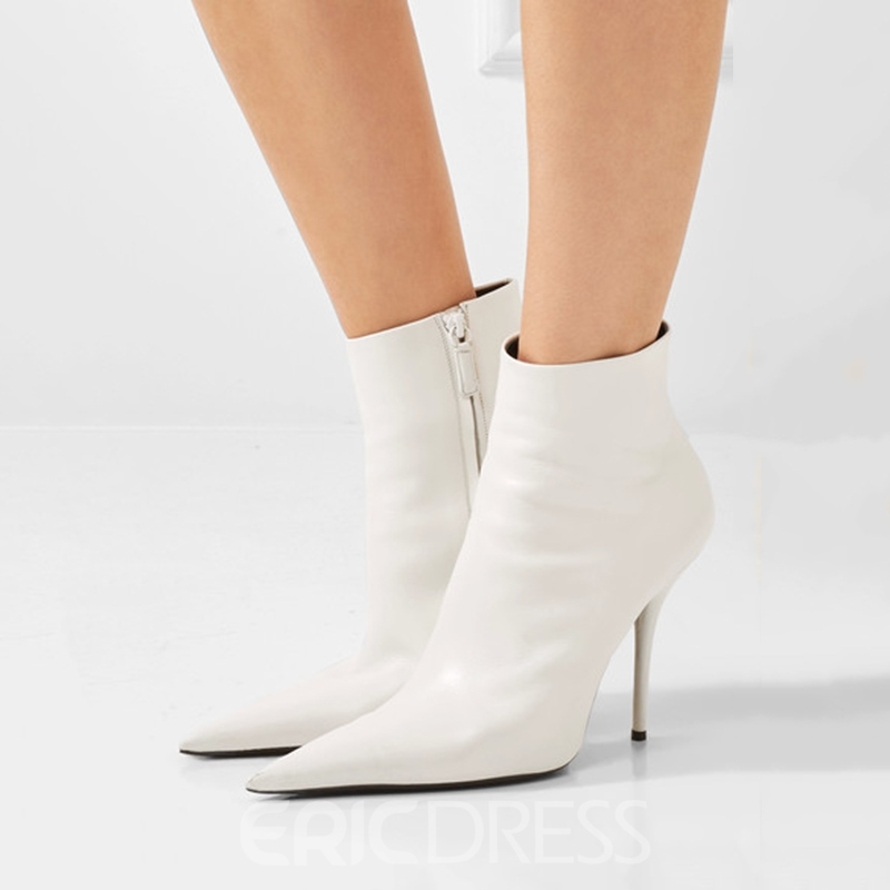 Ericdress White Pointed Toe Side Zipper High Heel Boots