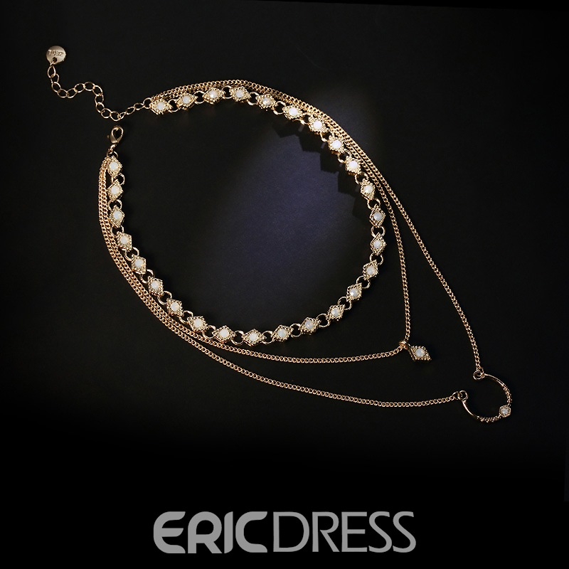 Ericdress Chic Multilayer Pendant Charm Necklace for Women