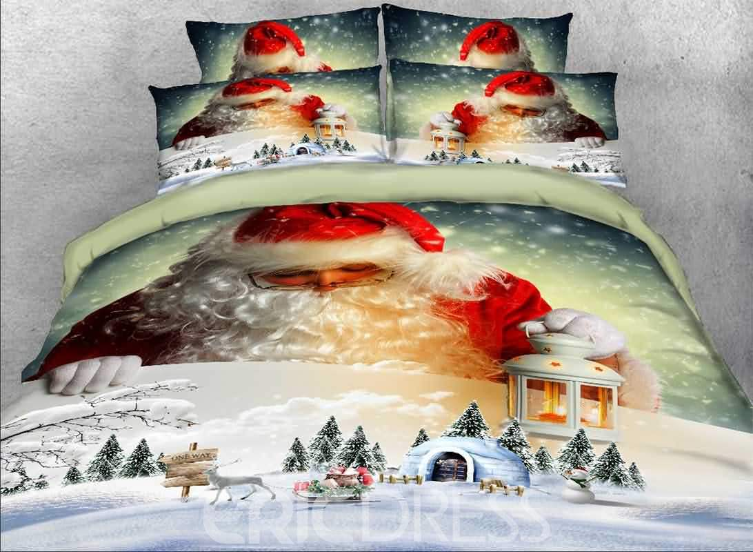 Vivilinen 3D Santa Claus and Igloo Printed Cotton 4-Piece Bedding Sets/Duvet Covers