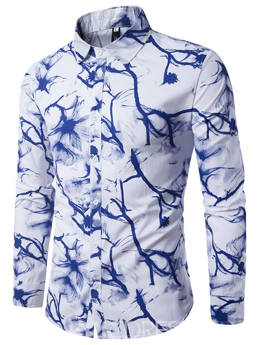Ericdress Lapel Print Color Block Men's Shirt