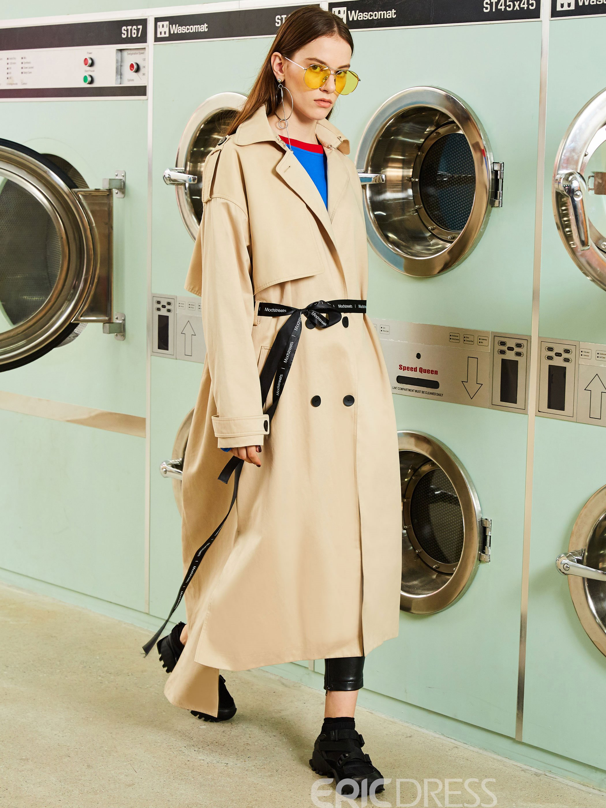 Ericdress Lapel Double-Breasted Epaulet Trench Coat