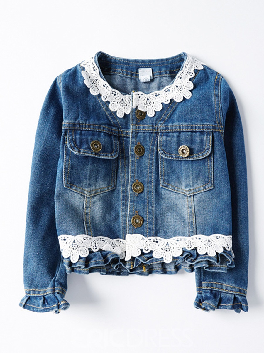 Ericdress Lace Patchwork Button-Front Girls Denim Jacket