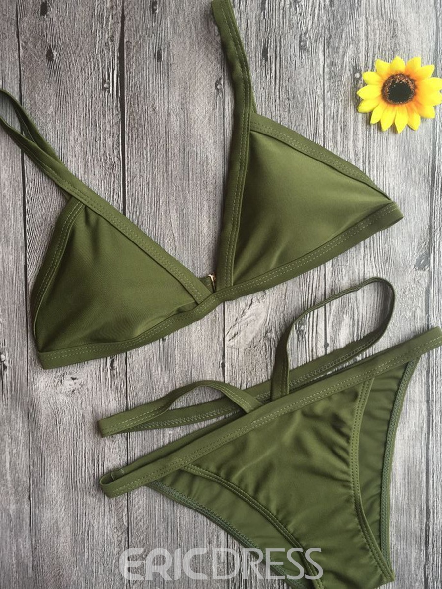 Ericdress Simple Solid Color Bikini Set