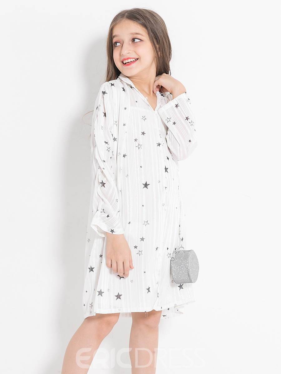 Ericdress Simple Little Star Printed Fall Girl's Long-Sleeve Dress