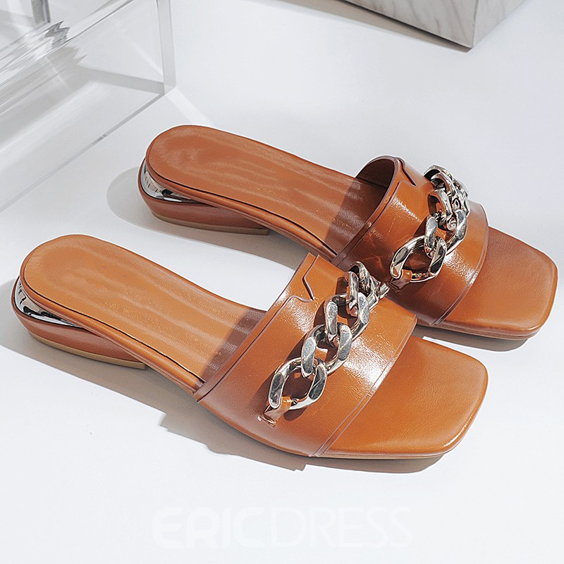 Ericdress Flip Flop Plain Mules Shoes with Chain