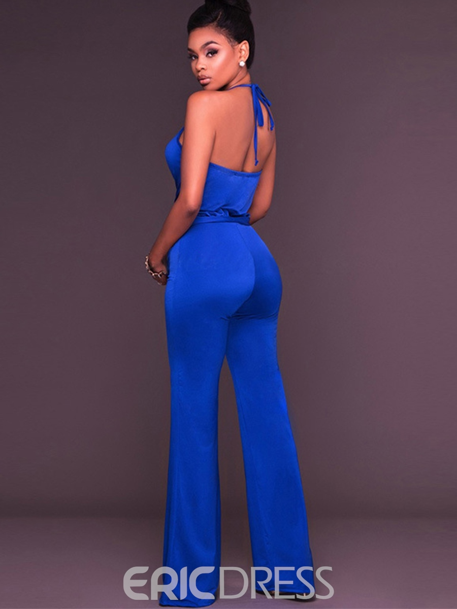 Ericdress Backless Lace-Up Pure Color Jumpsuits Pants
