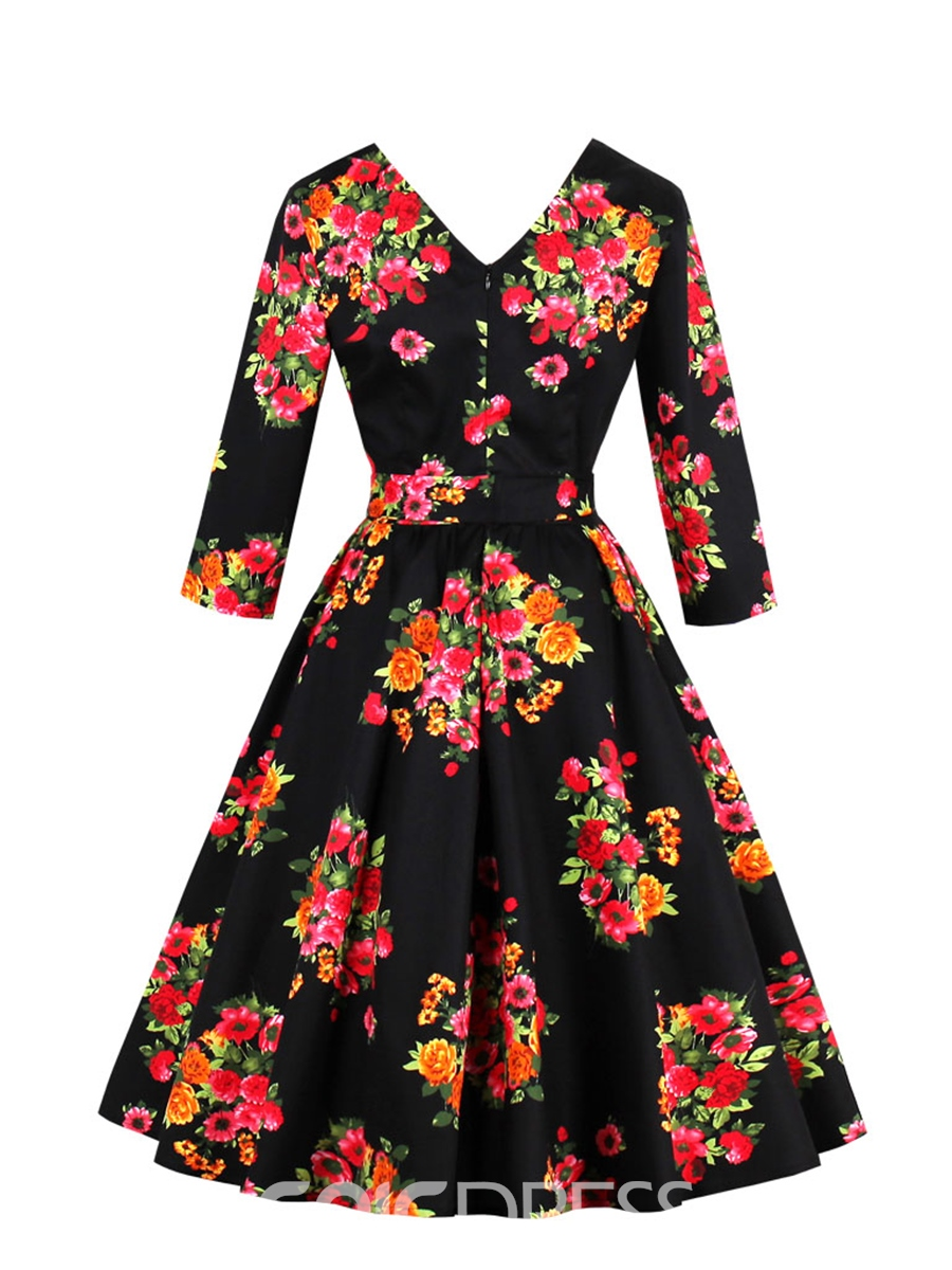 Ericdress V-Neck Lace-Up Floral Print A Line Dress