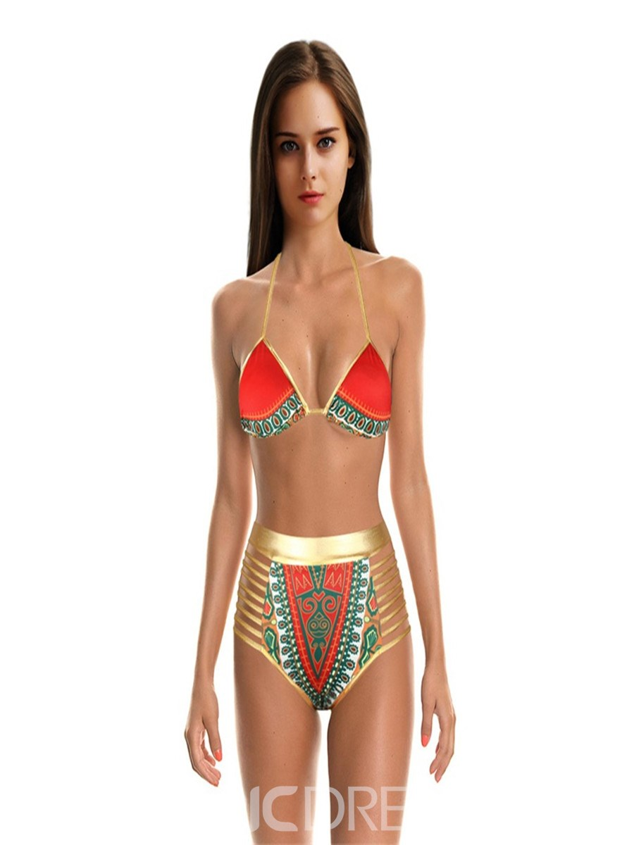 Ericdress African Print High Waist Lace-Up Red Vintage Bikini Set