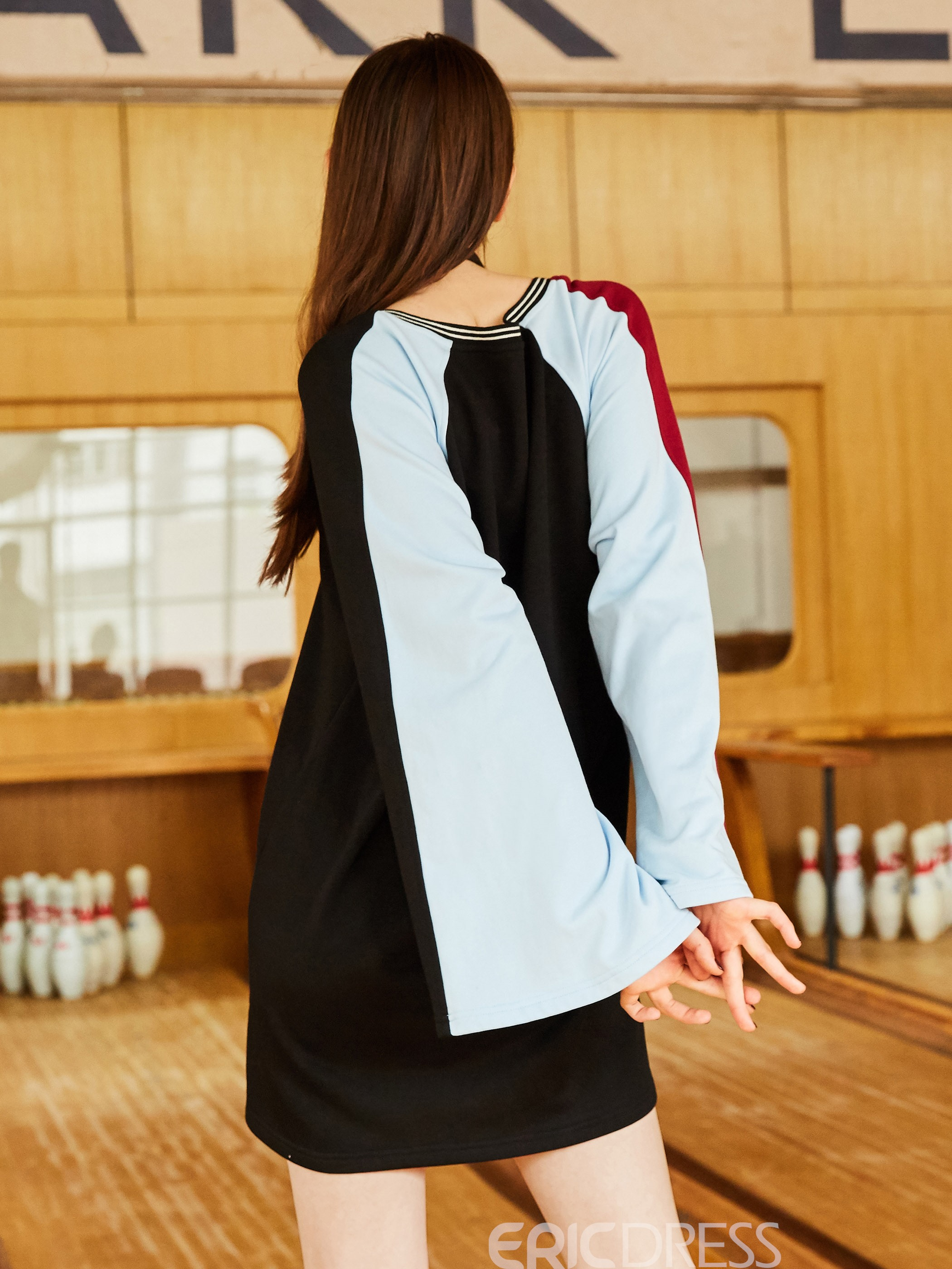 Ericdress V-Neck Color Block Flare Sleeve T-shirt