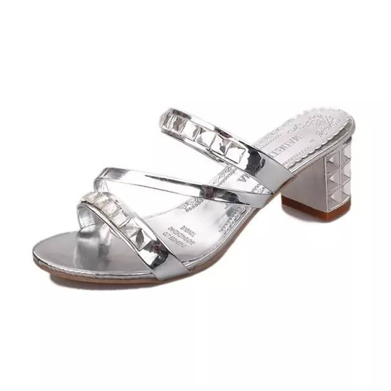 Ericdress Rhinestone Flip Flop Plain Chunky Mules Shoes