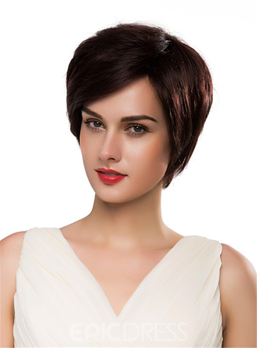 Ericdress Short Straight 100% Human Hair Capless Wig 10 Inches