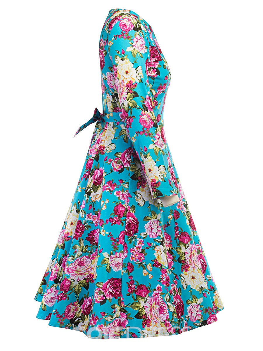 Ericdress Print Scoop Floral Women's Skater Dress