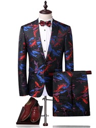 Ericdress Print Color Block Notched Lapel Mens Suit