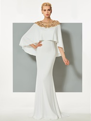 Image of Ericdress Bateau Neck Beaded Sweep Train Mermaid Evening Dress