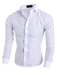 Mens Clothing Polka Dots Star Printed Lapel Slim Fit Shirt фото