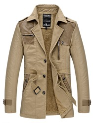 ericdress / Ericdress Notched Lapel Solid Color Patchwork Mens Trench Coat