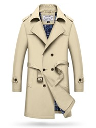 Ericdress Notched Lapel Double-Breasted Mens Trench Coat фото