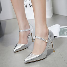 Ericdress Plain Pointed Toe Stiletto Heel Pumps with Buckle