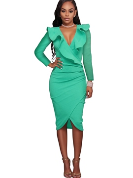 Ericdress ruffled collar long sleeves plain sexy bodycon kleid