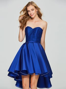 Ericdress A Line High Low Asymmetry Homecoming Dress With Lace-Up Back