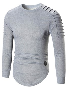 Ericdress Plain Round Neck Men's Pullover Hoodie