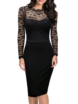 Ericdress Backless See-Through Lace Sexy Bodycon Dress