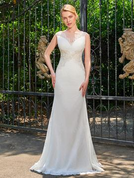 Ericdress Sheath Lace Appliques Sweep Train Wedding Dress