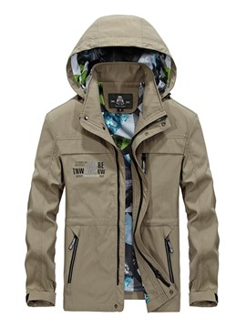 Ericdress Zipper Solid Color Hooded Men's Jacket