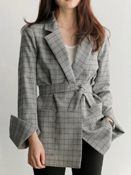 Ericdress Plaid Mid-Length OL Blazer