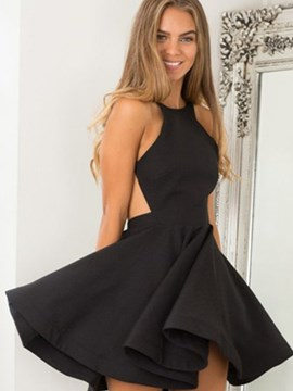 Ericdress A Line Halter Backless Short/Mini Homecoming Dress