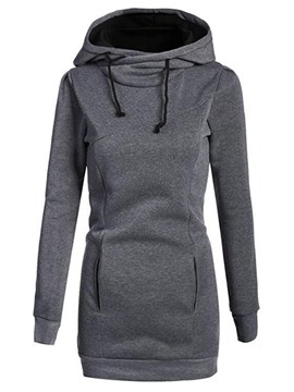 Ericdress Mid-LengthPullover Plain Cool Hoodie