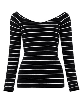 Ericdress Slim V-Neck Stripe Knitwear