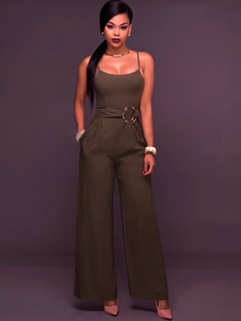 Ericdress Slim Wide Leg Plain Women's Jumpsuit