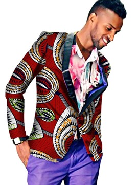 Ericdress Notched Lapel African Print One Button Men's Casual Blazer