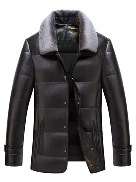 Ericdress Lapel Solid Color Mid-Length Men's Winter Coat