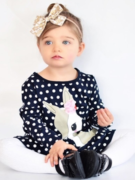 Ericdress Polka Dots Cute Deer Pattern Falbala Baby Girls Dress