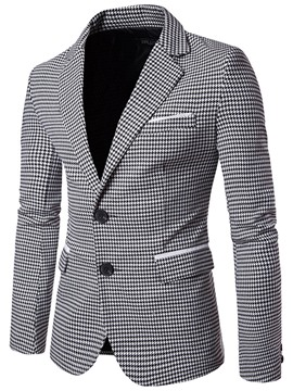 Ericdress Notched Lapel Slim Plaid Men's Casual Blazer