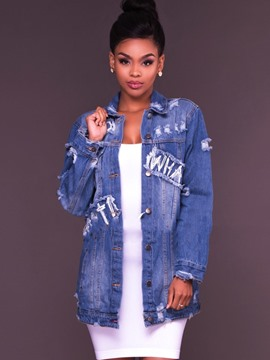 Ericdress Hole Letter Single-Breasted Denim Jacket