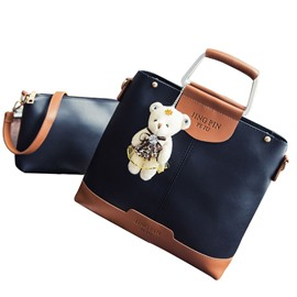 Ericdres Trendy Patchwork Little Bear Pendant Handbag