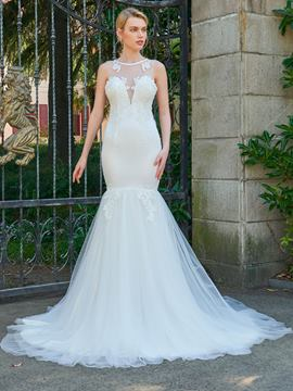 Ericdress Mermaid Backless Appliques Court Train Wedding Dress